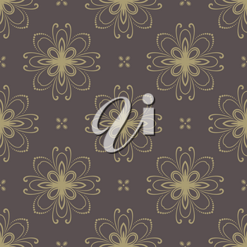 Floral vector oriental pattern with damask and floral elements. Seamless abstract golden ornament for backgrounds