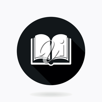 Fine vector book icon for web. Flat design and long shadow. Black and white colors