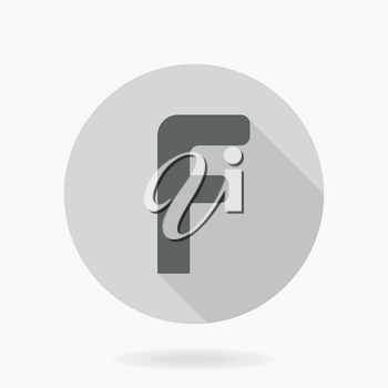 Fine vector gray letter F in the light circle. Flat design and long shadow