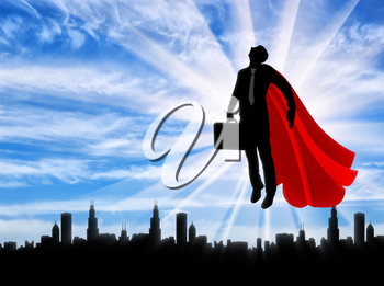 Superman businessman superhero. Silhouette of a superman businessman with a briefcase flying in the sky over the city at dawn