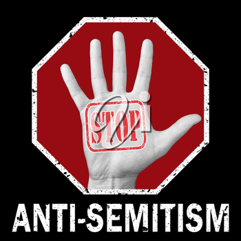 Stop anti-Semitism conceptual illustration. Open hand with the text stop anti-Semitism. Social problem