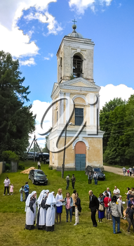 Pryamuhino Selo, Russia - June 17, 2017: The bell tower of the Trinity Church in the village of Pryamukhino. Tver Region, Russia. Mobile photo.