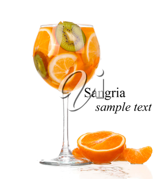 pitcher with a refreshing drink with lemon slices of orange and kiwi on white background(with sample text)