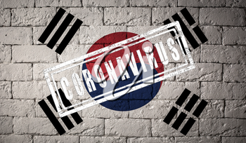 Flag of the South Korea with original proportions stamped of Coronavirus. brick wall texture. Corona virus concept. On the verge of a COVID-19 or 2019-nCoV Pandemic.