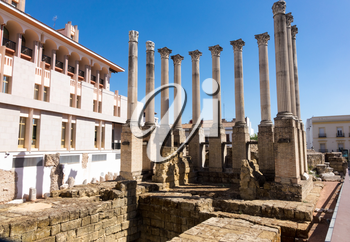 Remains of pillars of old Roman Temple in center of Cordoba, Andalucia, Spain