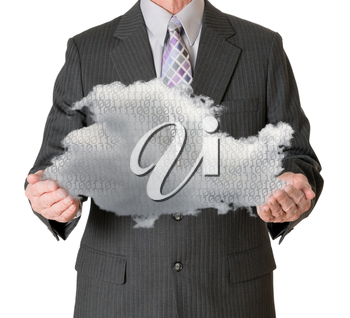 Senior male caucasian executive holding cloud computing shape and isolated against white background. Connection to electronic records via WiFi to web services applications
