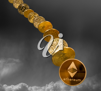 Ethereum and bitcoin coins falling from the sky to illustrate the falling price of the cybercurrency
