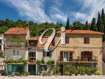 Rustic houses and homes in the coastal town of Novigrad in Croatia