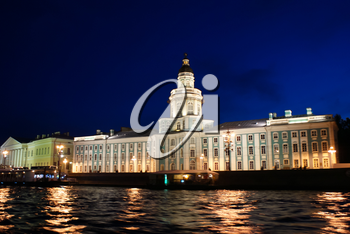 Saint-Petersburg, Russia - August 12, 2016: Night St. Petersburg. Drawbridges and city lights. The beauty of the city at night.