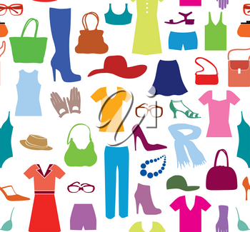 Fashion cloth seamless pattern. Women clothes and accessories. Retail tile dress sale background