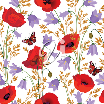 Flowers seamless pattern. Floral summer bouquet tile background. Meadow nature decor with bluebell, poppy and butterfly