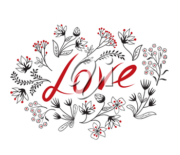 Calligraphic Doodle Love Sign with handwritten lettering LOVE and floral frame. Valentine's day holiday ornamental decor element. Good for wedding, greeting card, bridal invitation, birthday design