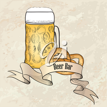 Beer ware background in retro style. Beer Mug banner. Beer Glass doodle engraved poster.