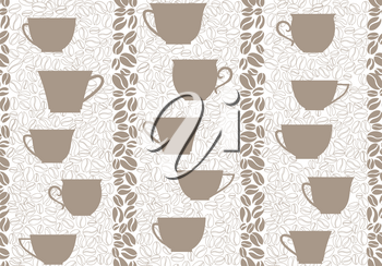 Coffee drink seamless background. Coffee beans seamless pattern.