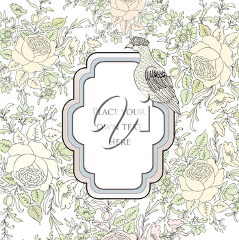 Frame over flower background. Veniette border with bird. Decorative card with floral pattern.
