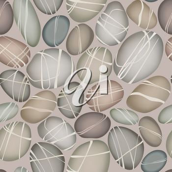 Sea pebbles under water seamless pattern. Stone decorative background