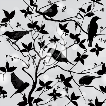 Birds silhouette on branch and leaf seamless background. Floral vector pattern. Vector ornamental illustration.