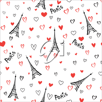 Travel France seamless pattern. Paris city vacation wallpaper. Eiffel tower landmark background with love hearts