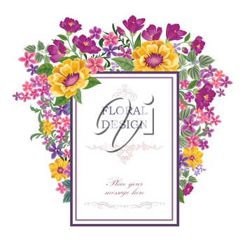 Floral frame with summer flowers. Floral bouquet with rose, carnation and wildflower. Vintage Greeting Card with flowers. Ornamental decorative flourish border. Floral background.