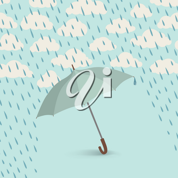 Umbrella over rain. Rainy cloudy sky pattern. Autumn rain background concept