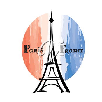 Travel France label Paris famous building Eiffel tower French flag with Paris landmark Grunge painted France flag with handwritten typing background