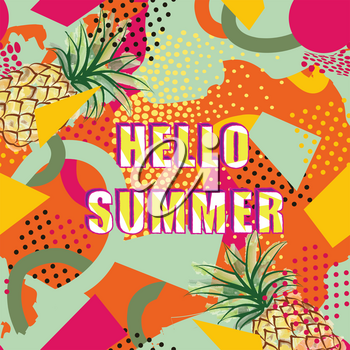 Hello summer card background over abstract blot creative painted dotted pattern in 1980s style.