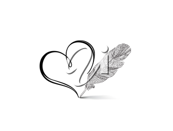 Love heart calligraphic hand drawn sign written by retro feather pen. Holiday greeting card design
