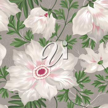 Floral seamless pattern. Graden flower bouquet background.