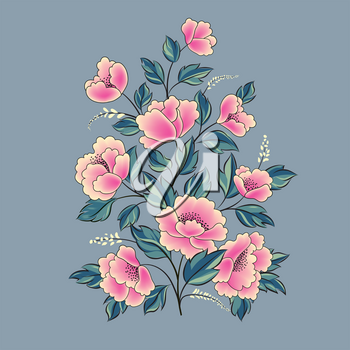 Floral background. Flower rose bouquet isolated. Flourish spring floral greeting card design