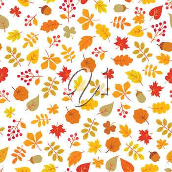 Autumn leaves seamless pattern. Leaf icon set in ornamental tile background. Fall nature backdrop in line art style.