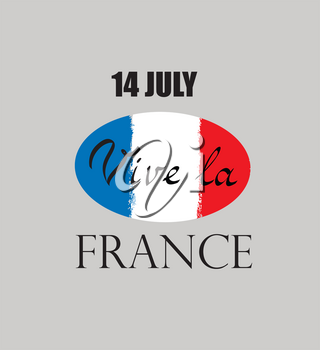 French nacional holiday day. Flag of France with handwritten lettering 14 Jule Vive la France.
