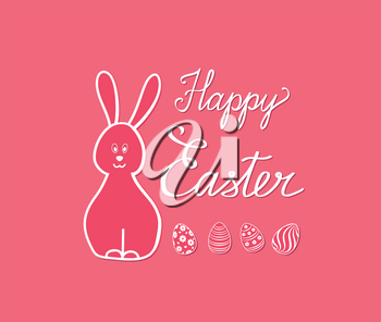 Happy Easter greeting card. Spring holiday bakground with rabbit bunny and handwritten lettering HAPPY EASTER over line drawn Easter icons eggs and flowers floral festive background.