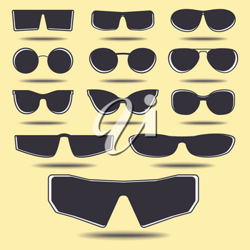 Set of eyeglasses, different size and form. Vector template.