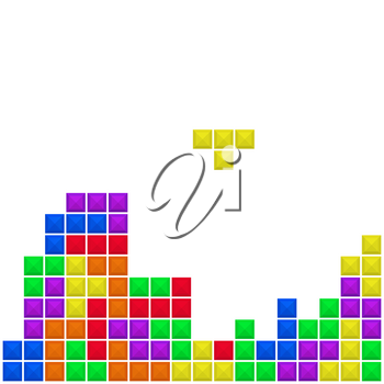 Old video game square template. Bricks game pieces on white background. Vector illustration.