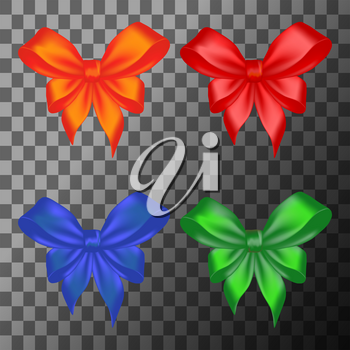 Colored gift bows on transparent background. Vector illustration.