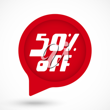 Special offer sale red tag. 50 percent Off discount sticker template. Vector Illustration.