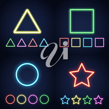 Neon ring, star, square and triangle set. Glowing colorful geometric signs. Vector illustration.