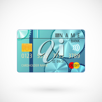 Abstract credit card with shadow isolated on white background. Vector illustration.