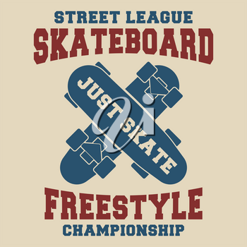 T-shirt print design. Skateboard freestyle vintage t shirt stamp. Printing and badge applique label t-shirts, jeans, casual wear. Vector illustration.