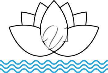 Lotus flower icon on the water in a flat style
