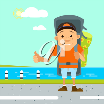 Vector illustration in flat style. Hitchhiker and tourist. Young man hitchhiker tourist on the beach with large backpack. Hitchhiker and traveler shows gesture hitchhiking