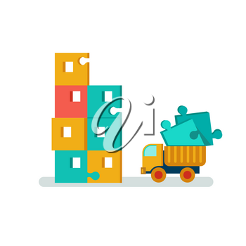 Flat vector concept illustration icons building construction and urban landscape. Builders construct the building of puzzles and truck carries building blocks on scene. Building constructionof puzzles