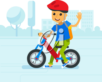 Vector illustration children riding bicycle in park city. Happy cartoon children with balance bike on the background of the city