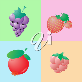 icons berries on a colored background