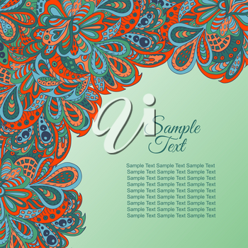 doodle floral ethnic card red and marine