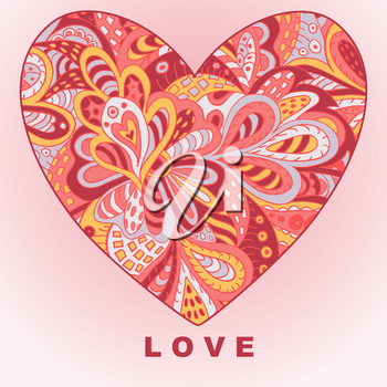 Heart ethnic doodle. Love. Valentine's Day. Drawing for cards and clothing