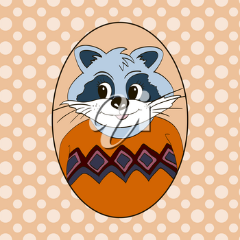 Raccoon in orange jersey. Picture for clothes, cards, children's books