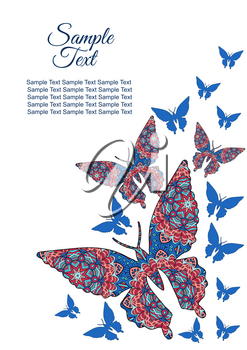 Spring postcard, cover, bright background for inscriptions. Butterflies fly upward. Cute pattern blue
