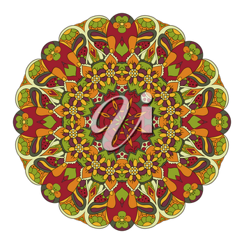 Mandala. Oriental pattern. Doodle drawing. Traditional round ornament. Turkey, Egypt, Islam. Relaxing picture. Red and orange