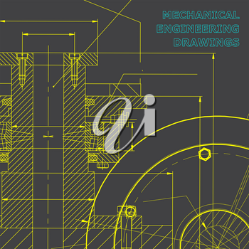 Backgrounds of engineering subjects. Technical illustration. Mechanical engineering. Technical design. Instrument making. Cover, banner, flyer, background. Gray